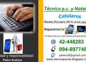 Servicio técnico p.c. notebook, celulares y tablets