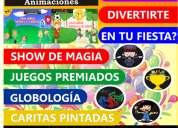 Animacion,globologia,caritas pintadas y magia.