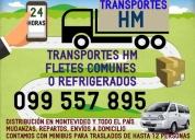 Transportes hm traslados, fletes comunes o refrigerados, contactarse.