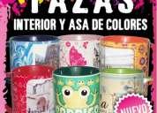 Tazas de ceramica,  impresas a todo color, con fondo y aza de color