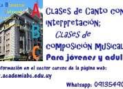Clases de canto con interpretación y clases de composición musical