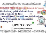 Reparación de pc, notebook, netbook, redes, wifi; a domicilio o en taller