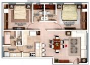 Alquiler apto Totalmente Amueblado edif Torres Del Puerto 2 dormitorios
