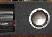 caja con subwoofer y potencia audio