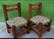 Silla matera o estufera en madera tejida con cuerd