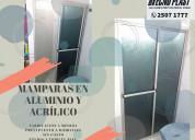 Mampara de baño en aluminio y acrílico