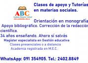 Clases de apoyo y tutorias en materias sociales